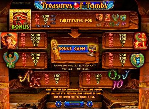 Игровой автомат treasures of tombs bonus