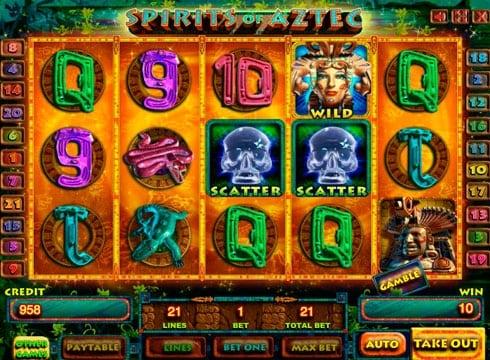 Игровые автоматы на реальные деньги онлайн – Spirits of Aztec HD